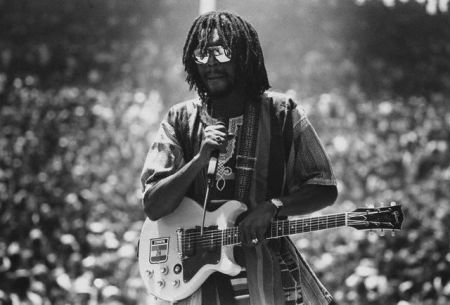 Peter Tosh performing reggae on stage