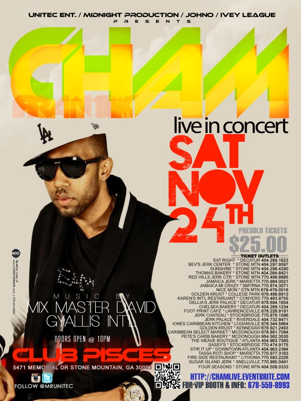 Music by: Mix Master David & Gyallis Int'l Saturday, November 24th (Thanksgiving Wknd) @ Club Pisces