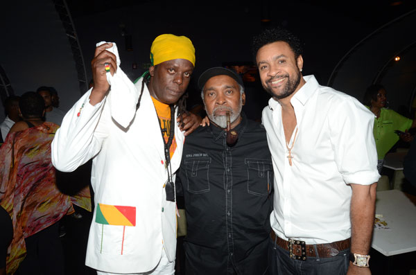 Richie Spice, Tad Dawkins and Shaggy at the Soothing Sounds: Acoustic album launch in Kingston, Jamaica.