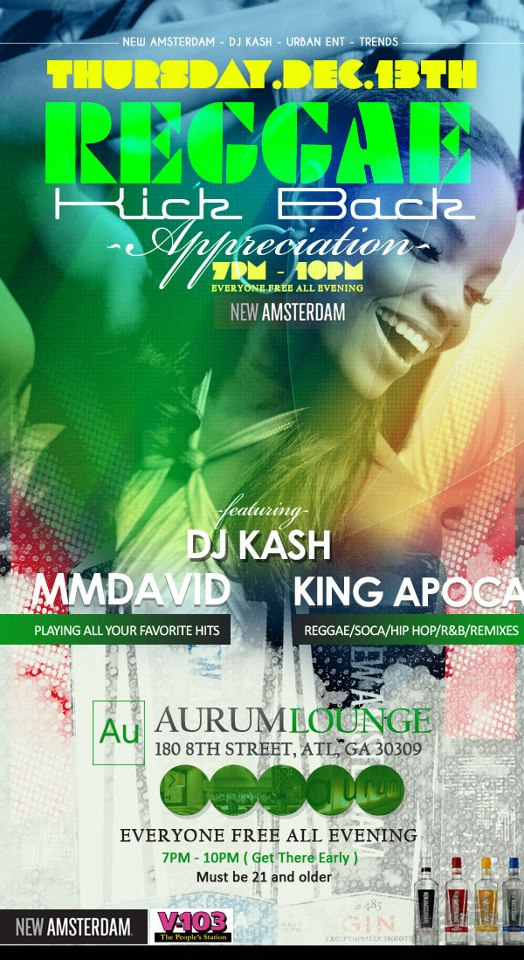 Reggae Happy Hour at Aurum Lounge