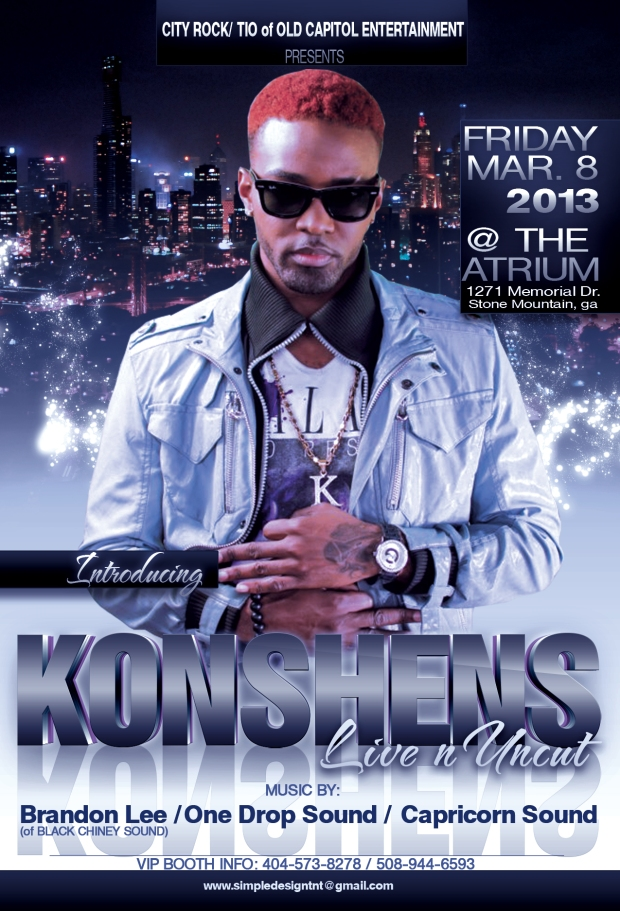 Konshens with Dovey Magnum and Black Chiney at The Atrium, Friday March 8th