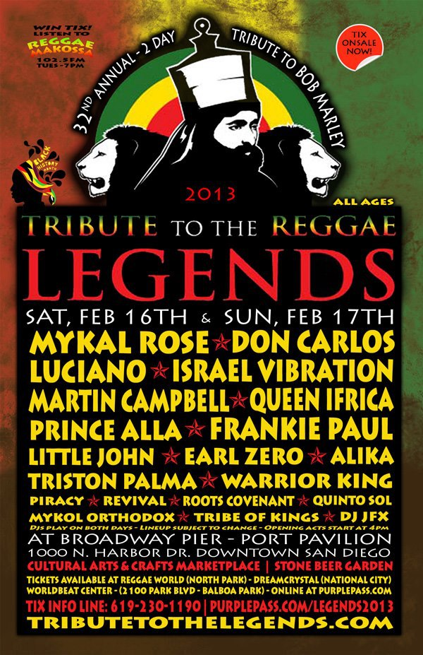 Updated flyer for Tribute to the Reggae Legends 2013 with Don Carlos and Luciano Just Added!