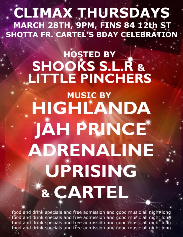 Music by Highlanda Sound System and Jah Prince alongside Cartel Sound, Adrenaline and Uprising Sound.