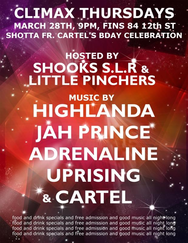 Music by Highlanda Sound System and Jah Prince alongside Cartel Sound, Adrenaline and Uprising Sound.