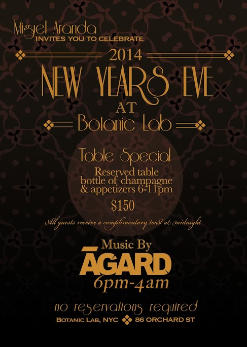 In New York City for New Years Eve and have nothing to do yet? Come celebrate the beginning of 2014 with us at Botanic Lab. Table special available. Also complimentary champaign and sparkling wine at midnight. Music by yours truly from 10pm until closing time. #NYE #NYC #BotanicLab #Mixology #Party #Nightlife #MiguelAranda