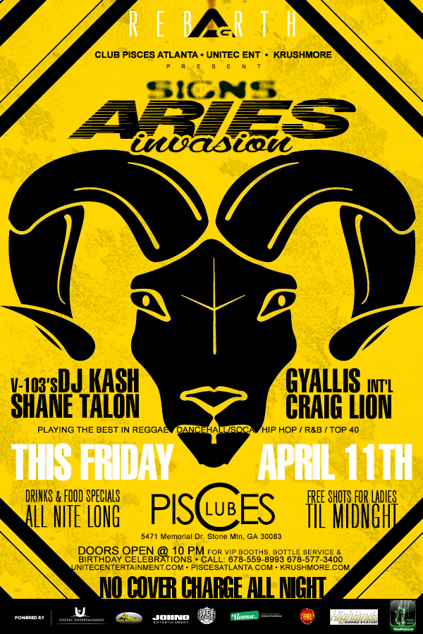 Advertisement for Access Granted *SIGNS* Aries Edition with DJ Kash, Craig Lion, Shane Talon, and Gyallis