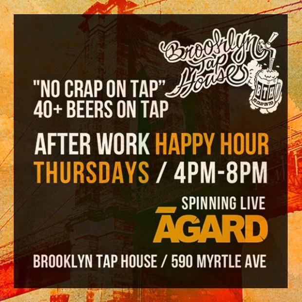 Brooklyn Happy Hour Thursday at Brooklyn Tap House from 4pm-8pm! #Brooklyn #NYC #HappyHour #BrooklynTapHouse #Beer #eats #Music #AGARD