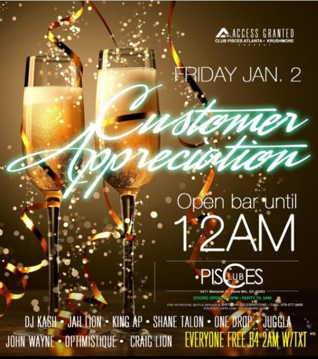 Access Granted Customer Appreciation, Tonight at Club Pisces