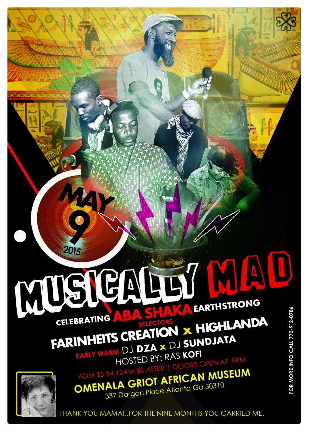 poster for Aba Shaka's May 9th Musically Mad Event