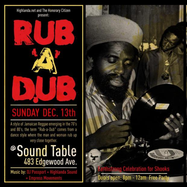 RUB-A-DUB at The Sound Table, Sunday, December 13th