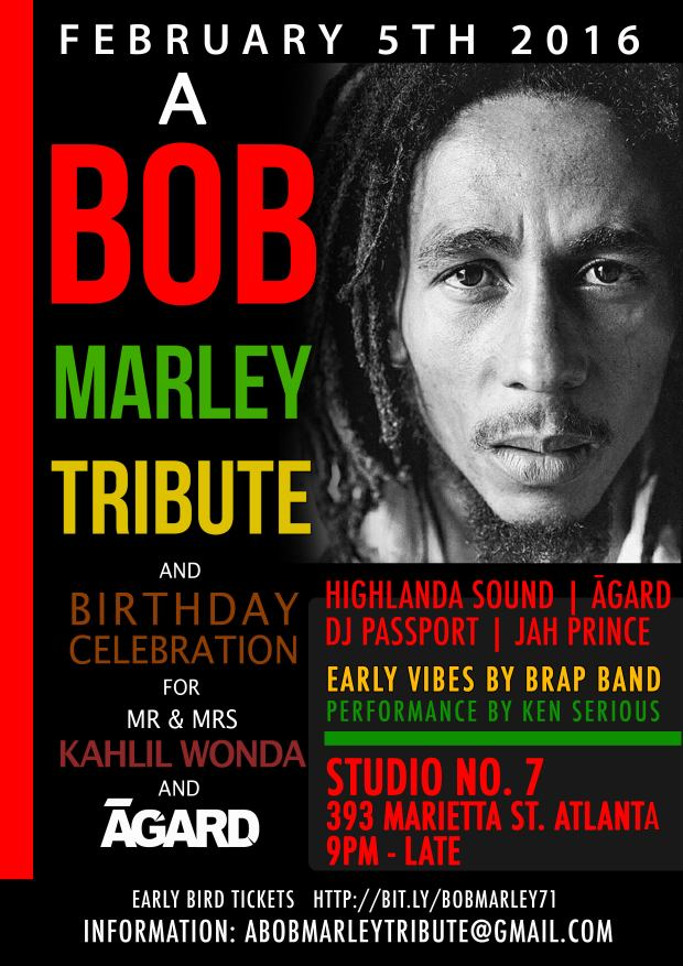 Rocksteady ATL Announces 2nd Annual Bob Marley Birthday Bash and Aquarius Celebration