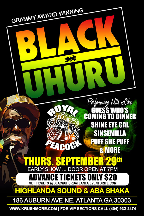 BLACK UHURU Krushmore Entertainment Thursday, September 29, 2016 from 7:00 PM to 11:30 PM (EDT) Atlanta, GA