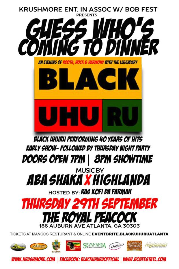 Highlanda Sound and Aba Shaka to open for Black Uhuru this Thursday @ The Royal Peacock
