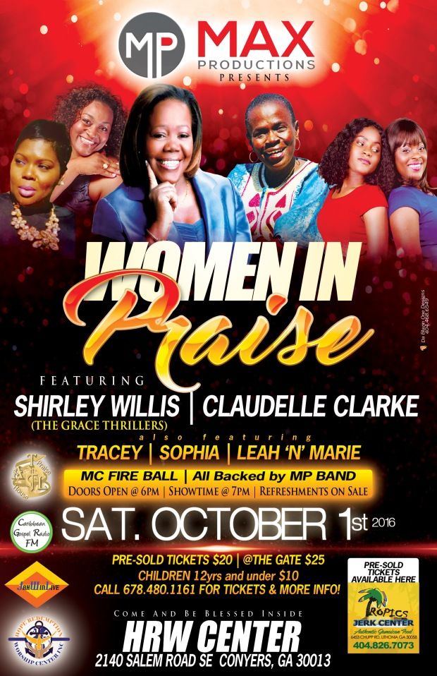 Women in Praise featuring Shirley Willis, lead singer from The Grace Thrillers, Claudelle Clarke, and more.