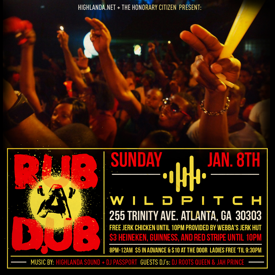 Reggae party, Rub-A-Dub ATL, is a nightlife event that includes many sub-genres of reggae music including ska, rocksteady, lovers rock, Roots, dub and dancehall with live DJ sets monthly on Second Sundays in Atlanta at WildPitch Music Hall. highlanda.net/rubadubatl/ #rubadubatl