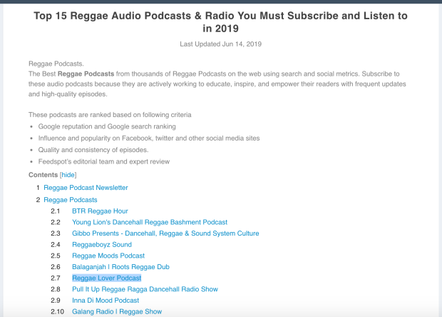 Screenshot of 2019 article about Reggae Lover podcast
